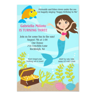 Bajo cumpleaños de la sirena del mar invite anuncio personalizado