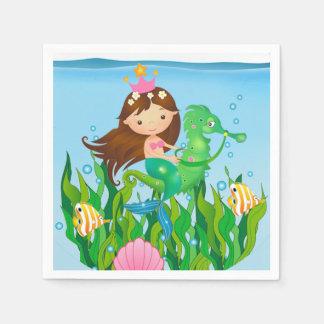 Bajo cumpleaños de la sirena del mar servilleta de papel
