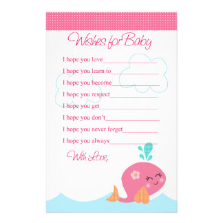 Bajo deseos de la ballena del rosa de mar para la  personalized stationery