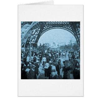 Bajo exposición 1900 de París de la torre Eiffel Tarjeta De Felicitación