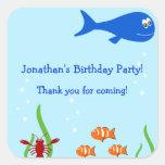 Bajo favor del cumpleaños de los niños del mar pegatina cuadradas
