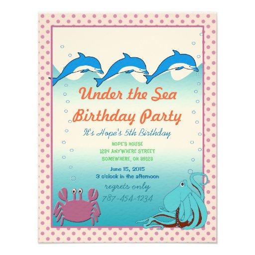 Bajo fiesta de cumpleaños de la invitación del mar