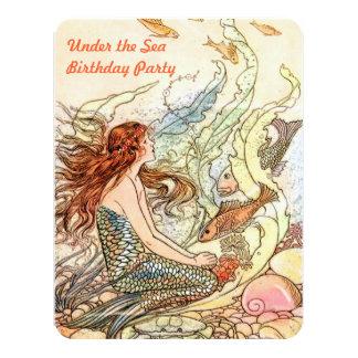 """Bajo fiesta de cumpleaños de la sirena de la invitación 4.25"""" x 5.5"""""""