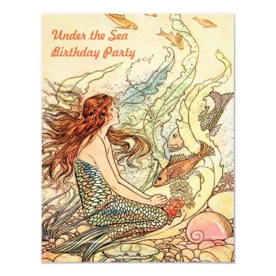 """Bajo fiesta de cumpleaños de la sirena del mar invitación 4.25"""" x 5.5"""""""