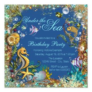 """Bajo fiesta de cumpleaños del mar invitación 5.25"""" x 5.25"""""""