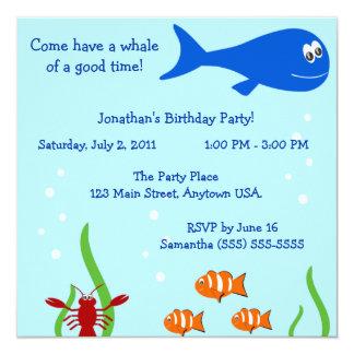 """Bajo fiesta del cumpleaños de los niños del mar invitación 5.25"""" x 5.25"""""""
