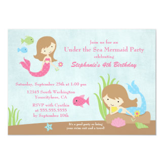 Bajo fiesta del cumpleaños del mar del chica de la invitación 12,7 x 17,8 cm