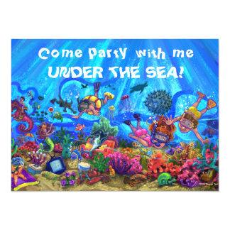 Bajo invitación del fiesta del mar invitación 13,9 x 19,0 cm