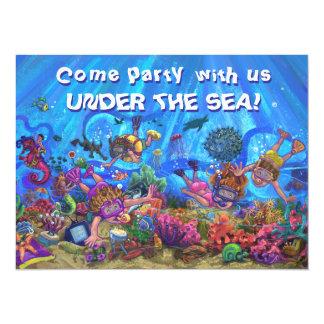 Bajo invitación del fiesta del patio del mar invitación 13,9 x 19,0 cm