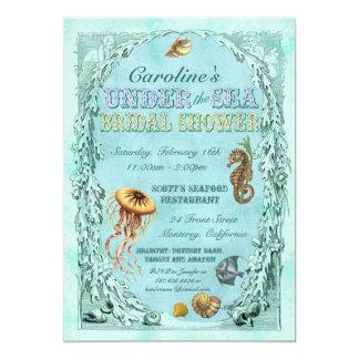 Bajo invitación nupcial de la ducha del mar -
