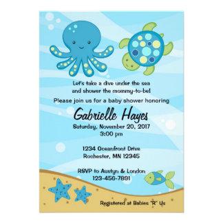 Bajo invitaciones azules de la fiesta de bienvenid
