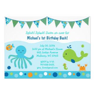Bajo invitaciones del cumpleaños del mar