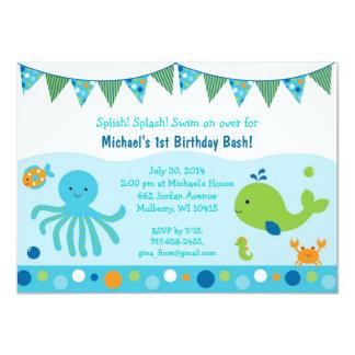"""Bajo invitaciones del cumpleaños del mar invitación 4.5"""" x 6.25"""""""