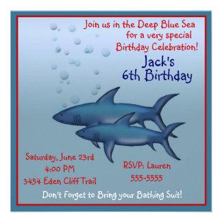 Bajo invitaciones del cumpleaños del tiburón del m comunicado personal