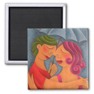 Bajo la lluvia pintura óleo arte 2 inch square magnet