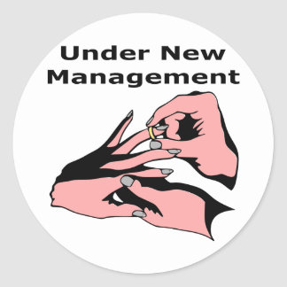 Bajo nueva gestión pegatinas redondas