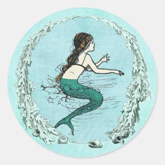 Bajo pegatina de la sirena del mar
