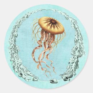 Bajo pegatina de las medusas del mar