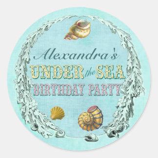 Bajo pegatina del fiesta del mar - nombre de