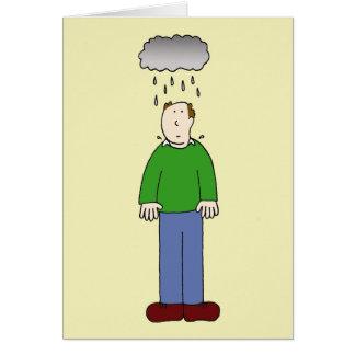 Bajo tiempo, hombre deprimido tarjeta de felicitación