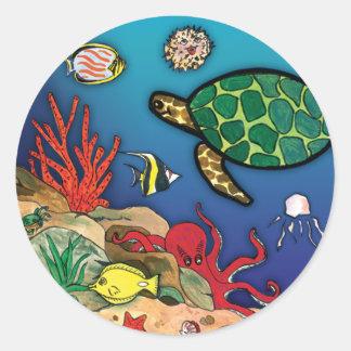 Bajo vida del océano del Mar Pegatina Redonda