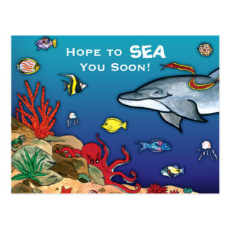 Bajo vida del océano del Mar Postales