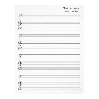 Bajo y piano en blanco del bastón de la partitura  membrete