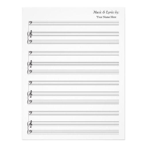 Bajo y piano en blanco del bastón de la partitura  membrete a diseño