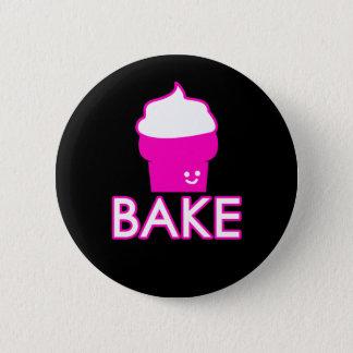 Bake - Cupcake Design - White Text Pinback Button