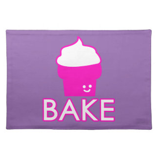 Bake - Cupcake Design - White Text Placemat
