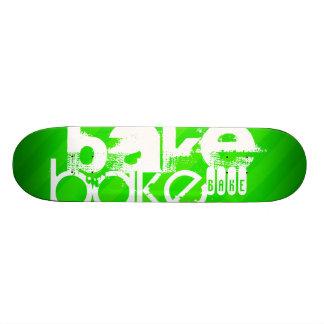 Bake; Neon Green Stripes Skateboard Deck
