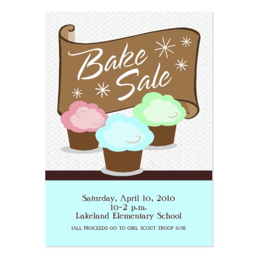 Bake Sale Event Card Business Card Templates