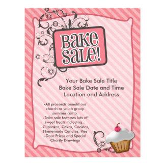 Bake Sale Flyers, Sweet Pink Swirls Flyer