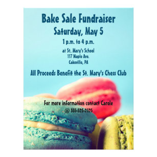 bake sale fundraiser flyer colorful macarons