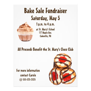 bake sale fundraiser flyer cookies cupcakes