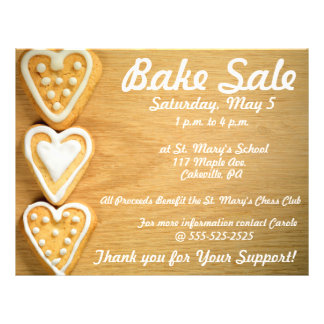 Bake Sale Fundraiser Flyer Horizontal Cookies