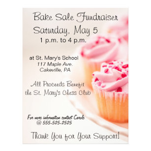 bake sale fundraiser flyer pink cupcakes design