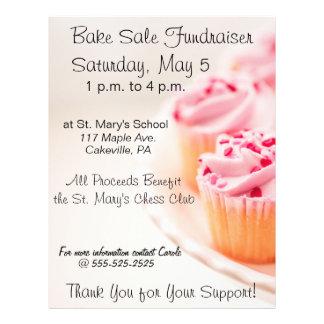 Bake Sale Fundraiser Flyer Pink Cupcakes Design