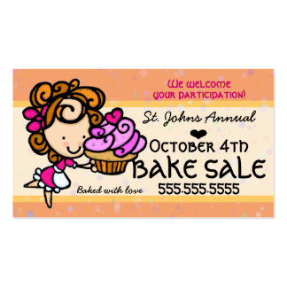 Bake Sale.Homemade Cupcake.Custom text-color Double-Sided Standard Business Cards (Pack Of 100)
