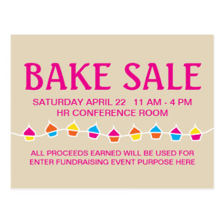 bake sale mailout flyers postcard