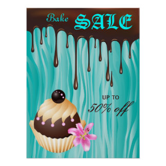 Bake Sale Poster Chocolate Cupcake Blue