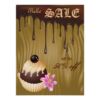 Bake Sale Poster Chocolate Cupcake Caramel