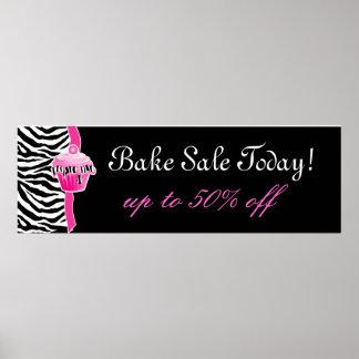 Bake Sale Poster Cute Zebra Cupcake Pink