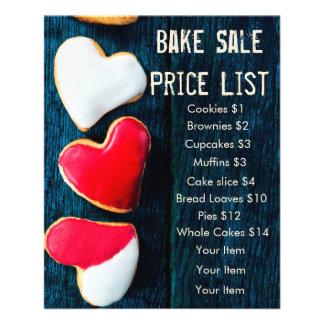 Bake Sale Price List Dark Background Heart Cookies Flyer