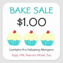 Bake Sale Stickers Customize Contains Allergens