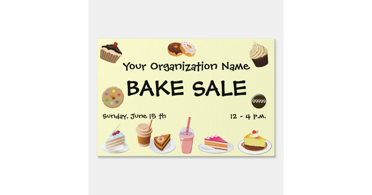 bake sale yard sign