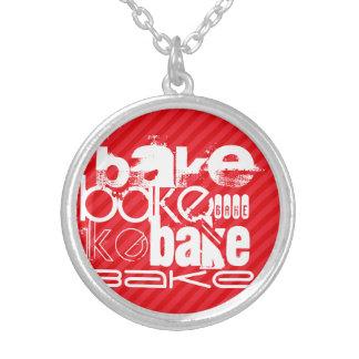 Bake; Scarlet Red Stripes Round Pendant Necklace