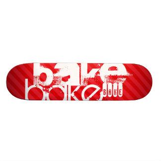 Bake; Scarlet Red Stripes Custom Skate Board