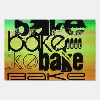 Bake; Vibrant Green, Orange, & Yellow Lawn Sign