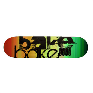 Bake; Vibrant Green, Orange, & Yellow Skateboard Deck